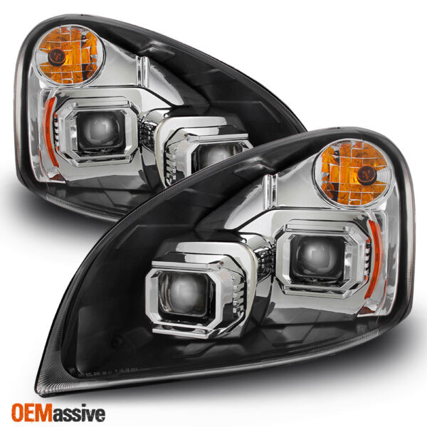 Fit 2008 2017 Freightliner Cascadia Chrome Dual Projector Headlights Replacement