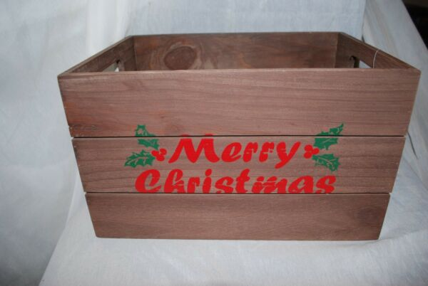 NEW Merry Christmas Wood Milk Crate Box Holiday Decoration Farmhouse Large 15x12