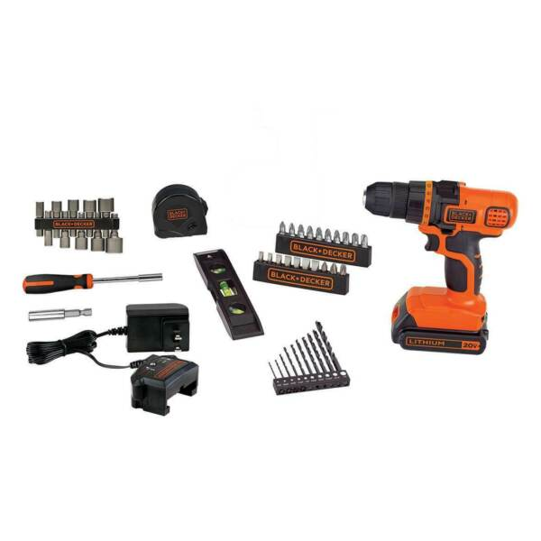 Black and Decker LDX50PK 20 Volt MAX Cordless Lithium Ion Drill Tool Set 44pc