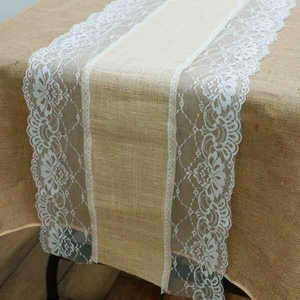 LACE BURLAP TABLE RUNNER 14x108quot; Rustic Natural Country Wedding Party Catering