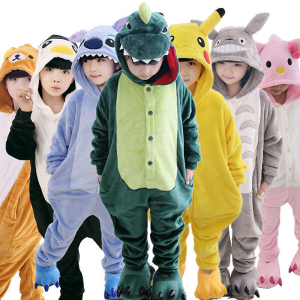 Kid Boy Girl Pajamas Kigurumi Unisex Cosplay Animal Costume Nightwear Halloween