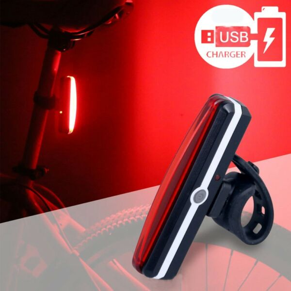 USB Rechargeable Smart Bike Tail Light Bicycle Safety Cycling Warning Rear Lamp $9.89