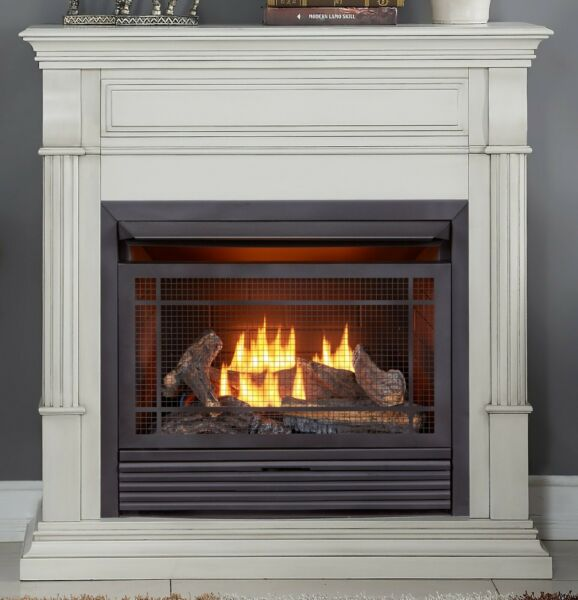 Duluth Forge Duel Fuel Vent Free Gas Fireplace 26000 BTUAntique WhiteVentless