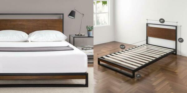 Zinus Suzanne Metal and Wood Platform Bed with Headboard Box Spring Twin