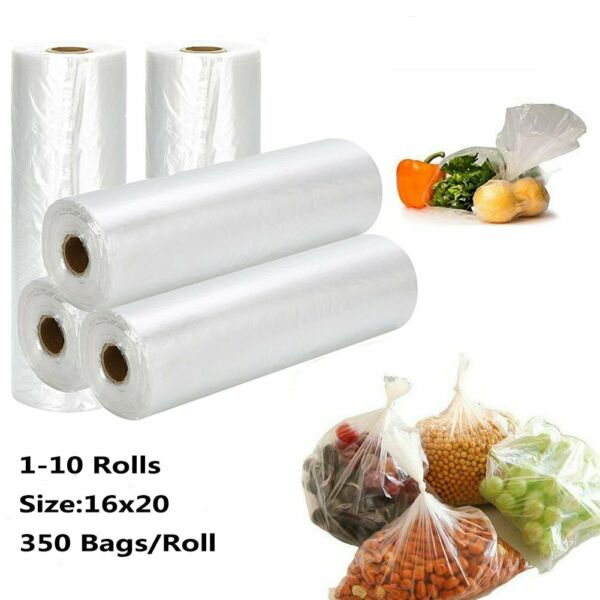 16 x 20 350Bag On Roll Plastic Produce Clear Kitchen Grocery Food Fruit Storage