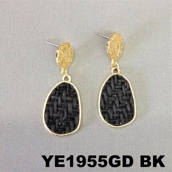 Bohemian Style Black Oval Burlap Material Charm Gold Finish Post Stud Earrings