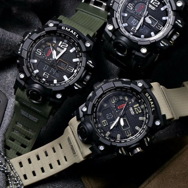 Mens Outdoor Sports Military Waterproof Dual Time LED Light Digital Analog Watch