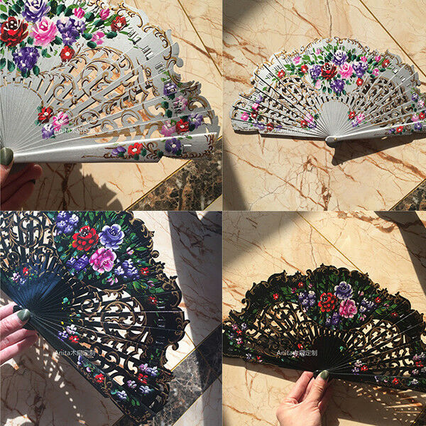 Anita Wood Fans Custom Dance Hand Painted Spanish Style Fans Wedding Cosplay $21.84