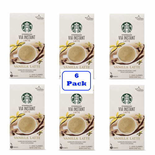 Starbucks VIA Instant Vanilla Latte (6 boxes of 5 packets)