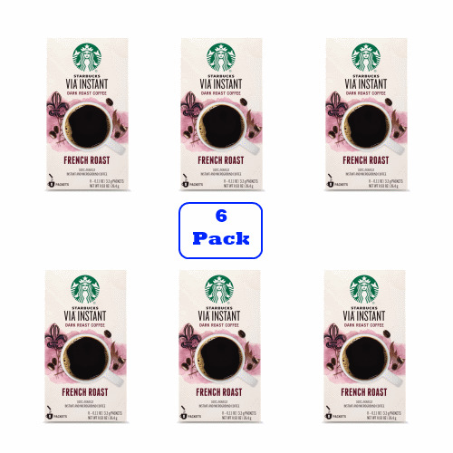 Starbucks VIA Instant French Roast Dark Roast Coffee (6 boxes of 8 packets)