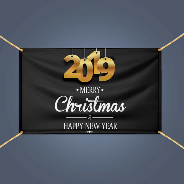 2019 MERRY CHRISTMAS HAPPY NEW YEAR Eve Holiday Party Decor Vinyl Banner Sign