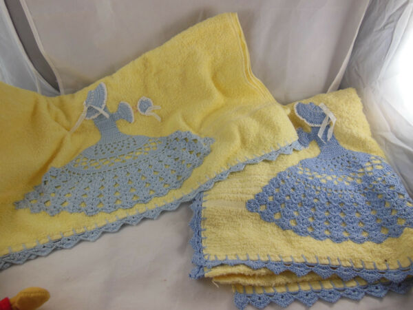 Vintage Terry Cloth Bath Towels Yellow and blue Girl in dress Crocheted