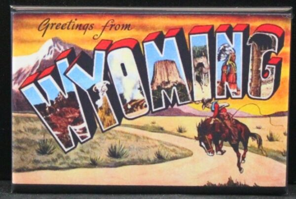 Greetings from Wyoming Vintage Postcard 2