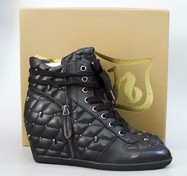 New with Box Ash Brooklyn Studded Skull Leather Wedge Sneakers black EUR38