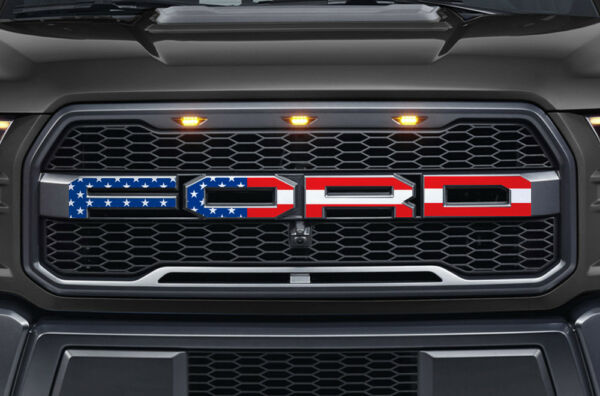 Ford F150 SVT Raptor Grille Insert Graphics Stickers Decals 2015-2018 USA FLAG