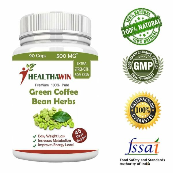 Pure Green Coffee Bean Extract Supplement For Weight Loss - 90 Capsules 500 Mg
