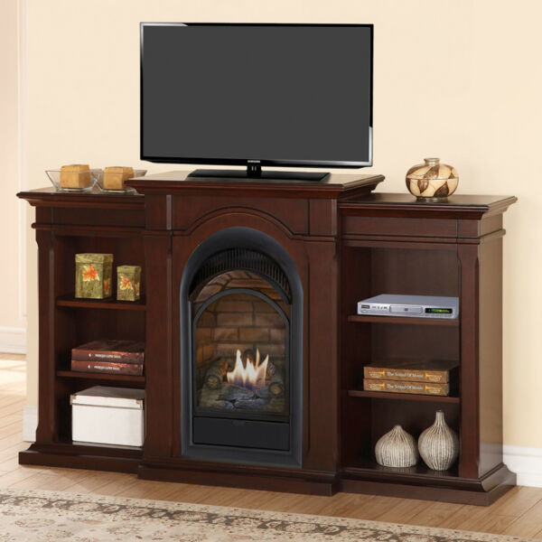 Duluth Forge Dual Fuel Ventless Fireplace With Bookshelves-15000 BTU Chocolate