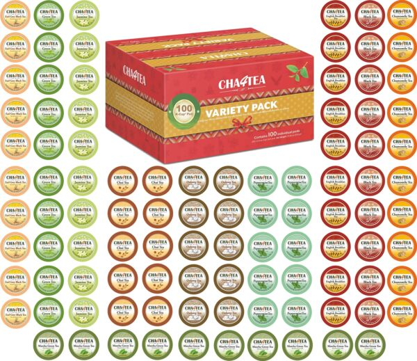 Cha4TEA 100-Count K Cups Tea Variety Sampler Pack for Keurig K-Cup Brewers