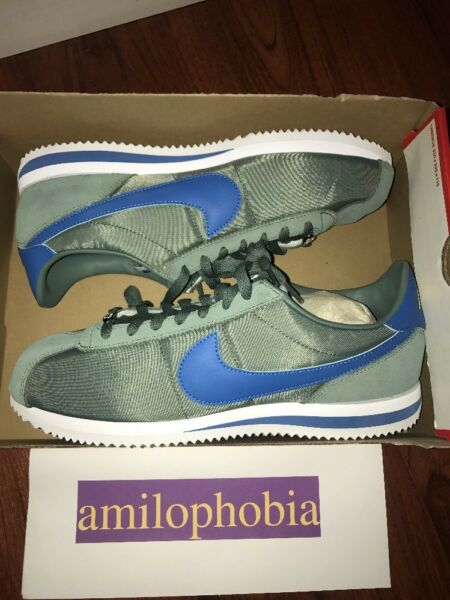 New Men's Nike Cortez Basic Nylon Size 13 Clay Green Blue White Running Shoes