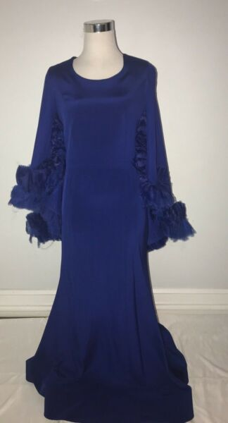 CHRISTIAN SIRIANO blue gown with ruffle cape detail  size 10