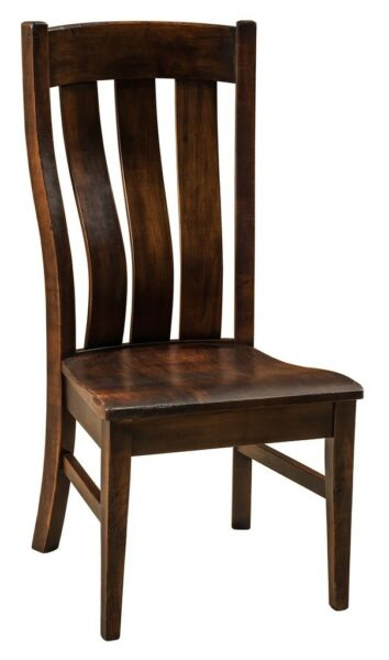 (4) Amish Arts & Crafts Shaker Dining Side Chair Slat Back Solid Wood Chesterton