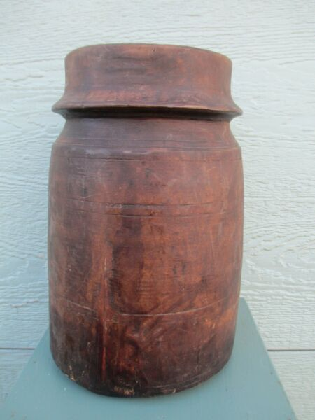 "TREEN antique VESSEL  primitive LARGE wooden ( 12"" ) TALL patina KITCHEN country"