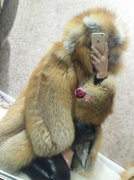 Genuine Real Red Silver Fur Long Coat Women Jacket Overcoat Parka Hoodied 2Color