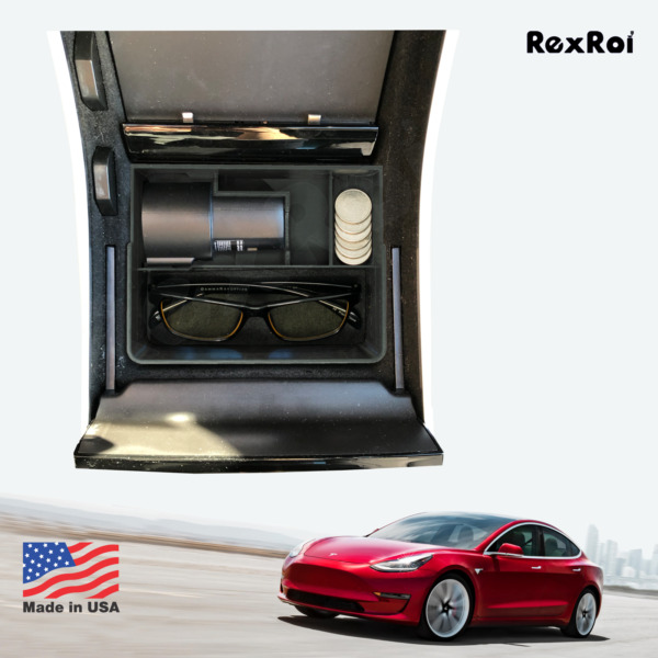 Tesla Model 3 Center Console Tray with Coin and Sunglass holder