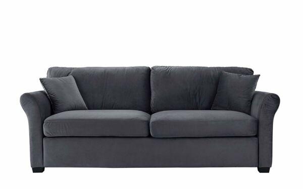 Contemporary Home Velvet Fabric Sofa Living Room Couch, 3 Seater Grey