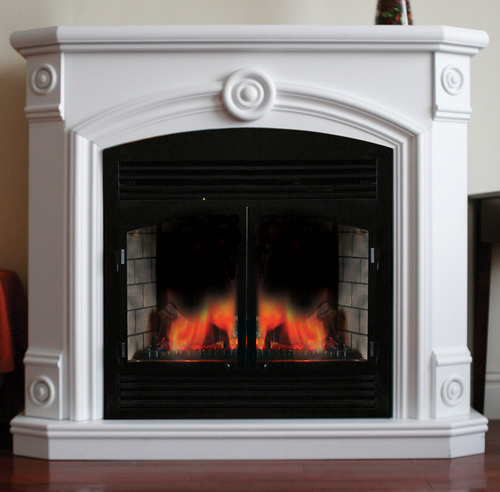 ProCom Full Size Deluxe Electric Fireplace With Remote Control - White Finish