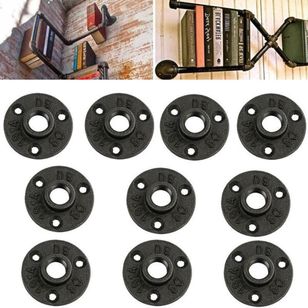 10Pcs 34'' Black Malleable Threaded Floor Flange Iron Pipe Fittings Wall Mount