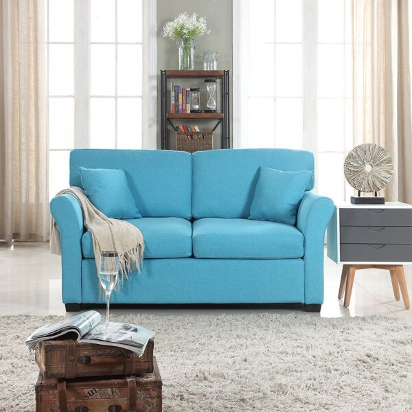 Comfortable Fabric Loveseat Sofa for Small Living Room Linen Couch Blue $269.99
