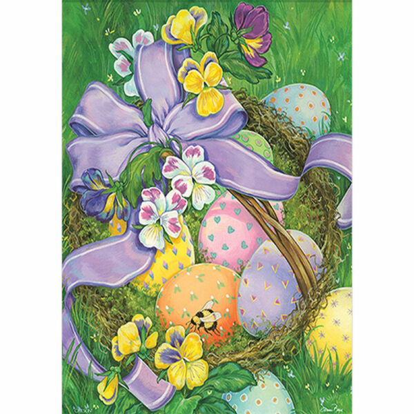 Happy Easter Colored Eggs in a Basket Garden Flag House Double-sided Yard Banner