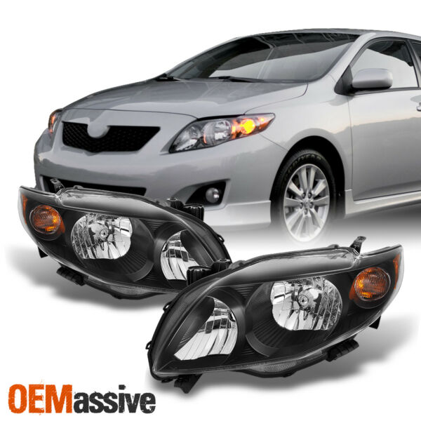 Fits 09-10 Toyota Corolla Black Headlights Lamp Replacement Left+Right 2009-2010