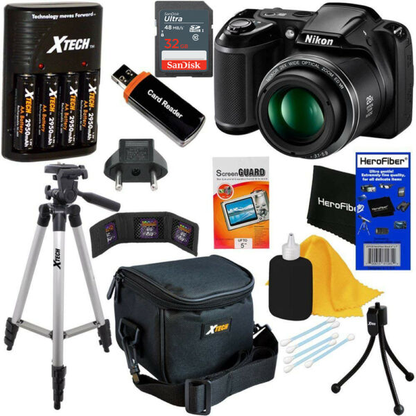 Nikon COOLPIX L340 20MP Digital Camera, 28x Zoom & Full HD Video+Chrgr+32 GB Kit