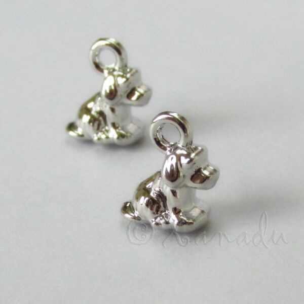 Puppy Dog Charms 11mm Small Silver Plated Pendants C3071 5 10 Or 20PCs $2.50