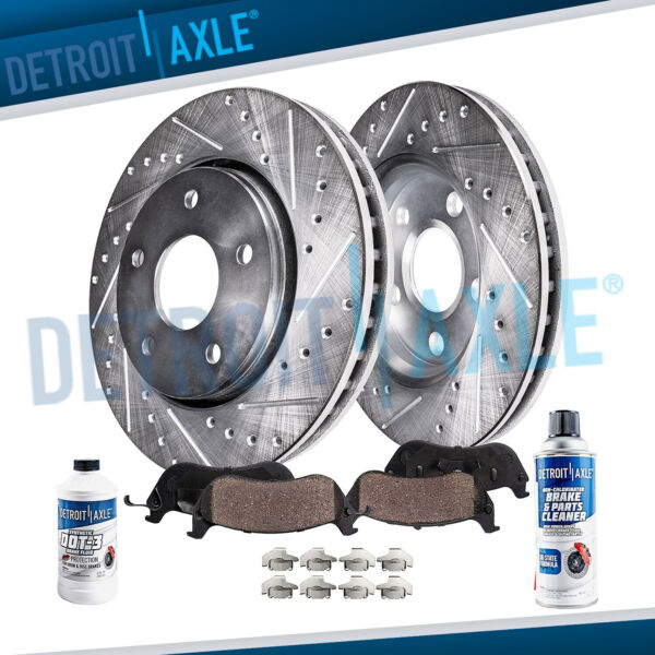 Front Drilled Brake Rotors + Ceramic Pads for 2009 2010 - 2013 Corolla Matrix xD