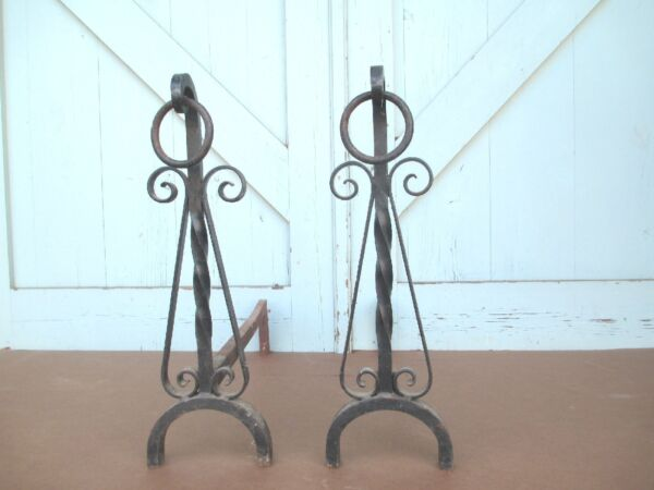 MISSION hand Wrought iron FIRE PLACE andirons   19.6 Lbs. simple ARTS