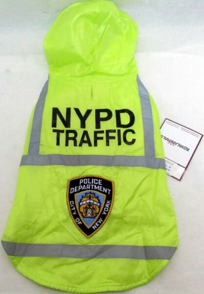 Dog Safety reflective hooded Coat NYPD POLICE WATER RESISTANT Size S M L $19.99