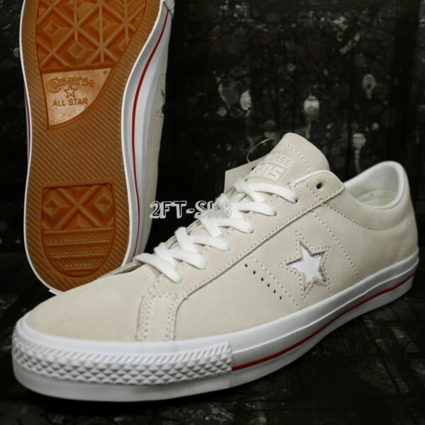 Converse ONE STAR SKATE SUEDE WHITE EGRET SKATE SHOES SIZE 11.5 G8A129.115