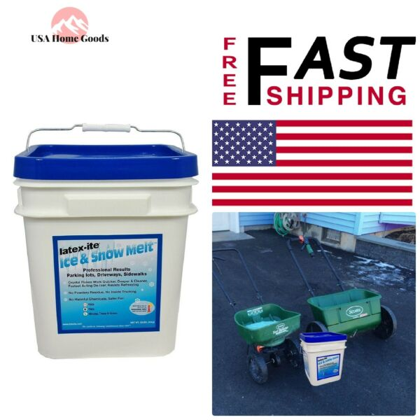 Pail Ice and Snow Melt 30 lb. De-Icer Agent Parking Lots Drive Way Sidewalk