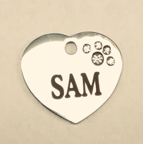 Stainless small Pet ID Tag Personalized for cats and small dogs 3 4 inch heart