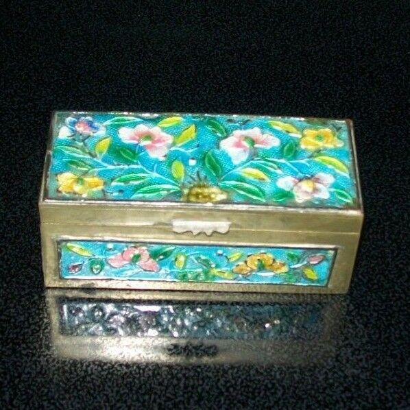 Antique Chinese Divided Enamel & Brass Floral Stamp Box