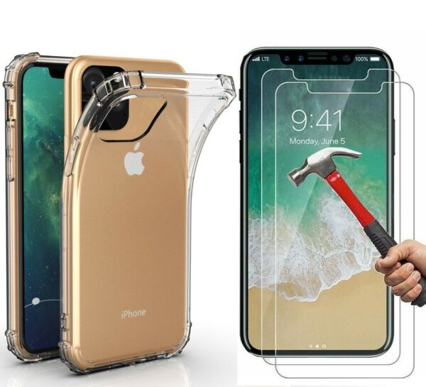 Case + 2 Screen Protector iPhone 11 Pro Max XR 6 7 8 Plus XS SE 2020 Cover Clear $5.99