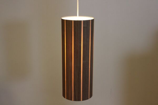 Mid Century Modern Lampa Walnut amp; Maple Wood Drum Pendant 7 x 18quot; Made in NY