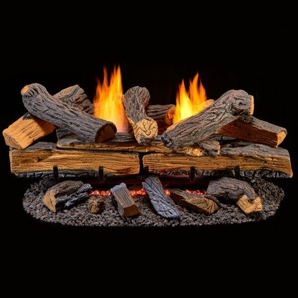 Duluth Forge Ventless Natural Gas Log Set - 30 in. Split Red Oak Manual Control