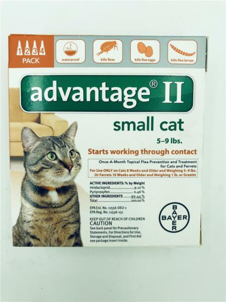 4 Pack Advantage II Small Cat Topical Flea Prevention 5-9 lbs