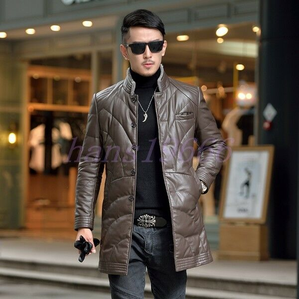 Men's Down Mid Long Formal Genuine Leather Fur Collar Business Coat Jacket Parka