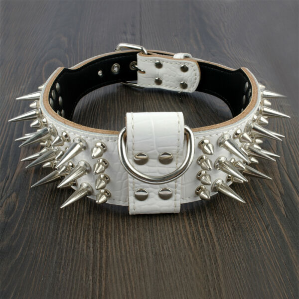 Genuine Leather Spiked Dog Collar 2.0 inch Wide Large Breeds Pit Bull White US $27.99