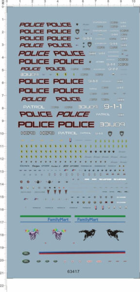 1 64 Decals hcpd 911 police for model kits 63417